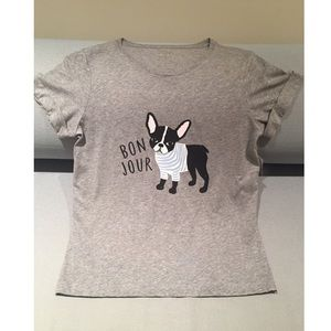 NWT KATE SPADE Grey Frenchie Tee Bonjour Dog Top M